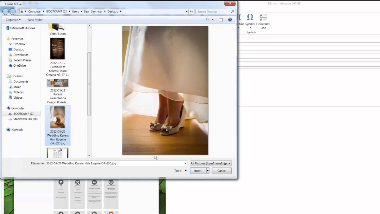 insert pdf into email as image