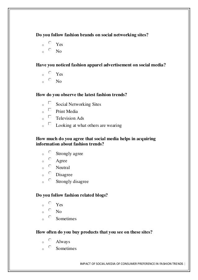 impact of social media on youth questionnaire pdf