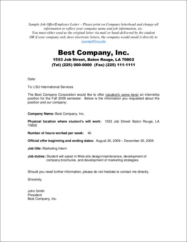 job offer letter from employer to employee pdf