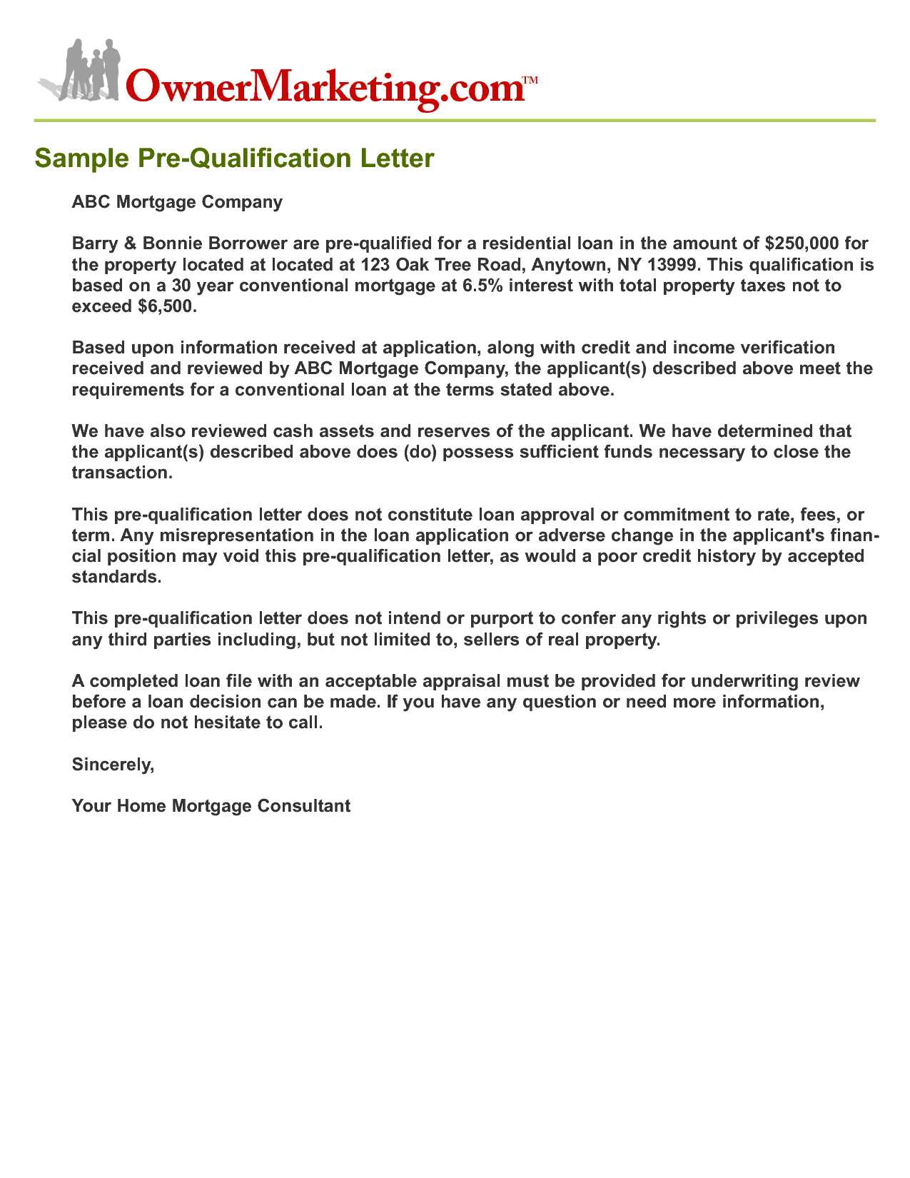 letter of qualification sample