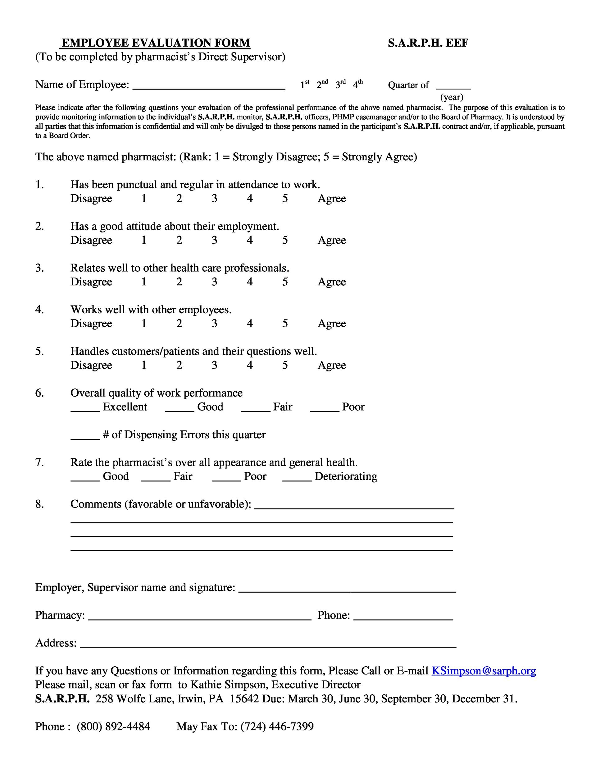 evaluation review sample
